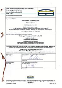 Zertifikat der deutschen Entsorgungswirtschaft e.V.